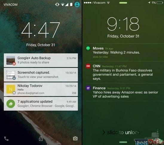 ios8.1与android5.0大比拼:锁屏界面